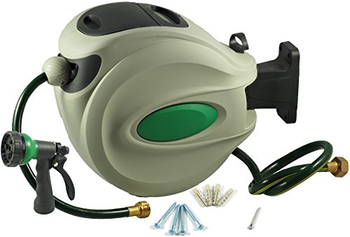 ikris Retractable Garden Water Hose Reel + 75 Foot Hose, 1/2