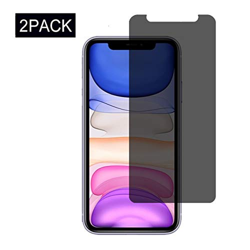[2 Pack] iPhone 11 Privacy Screen Protector, Duodeyuan Anti-Scratch, 9H Hardness Anti-spy Tempered Glass for iPhone XI 2019(6.1 Inch)