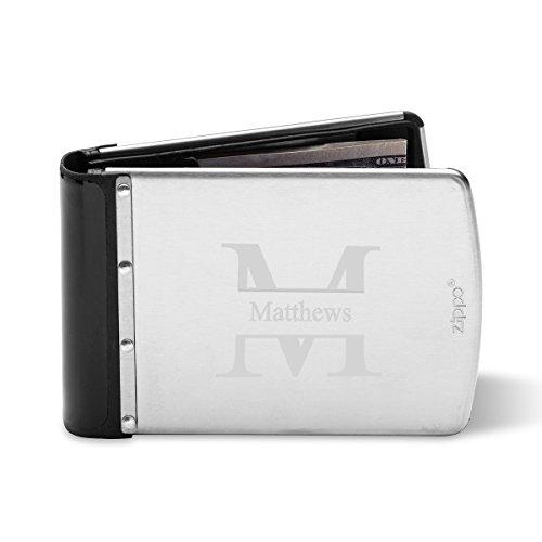 Zippo Wallet - Monogrammed Zippo Stainless Steel RFID Blocking Wallet - Custom Zippo Wallet - Stamped