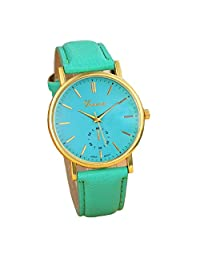 Lowpricenice New Unisex Leather Band Analog Quartz Vogue Wrist Watch Watches Blue