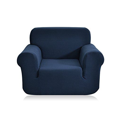 CHUN YI 1-Piece Jacquard High Stretch Armchair Arm Chair Slipcover, Polyester and Spandex 1 Seater Cushion Couch Cover Coat Slipcover, Furniture Protector Cover for Sofa and Couch (Chair, Dark Blue)