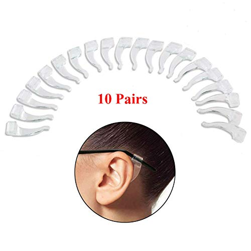 AKOAK 10 Pairs Clear Silicone Anti-Slip Ear Grip Hook Lock Grip Holders for Eyeglasses Glasses