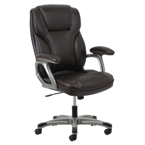Essentials High-Back Leather Executive Office/Computer Chair with Arms - Ergonomic Swivel Chair (ESS-6030-BRN) by Essentials by OFM