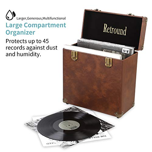 (Retround Vintage Retro Vinyl leather Record Holder Case, LP Storage Carrying Case for 78 rpm, 45 rpm, 33 rpm Standard Size Vinyl Records Collections Storage Organizer Display Box-12 Inch (Brown))