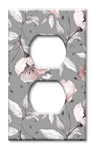 (Art Plates Duplex Outlet Cover Wall Plate - Gray and Pink Flower Toss)