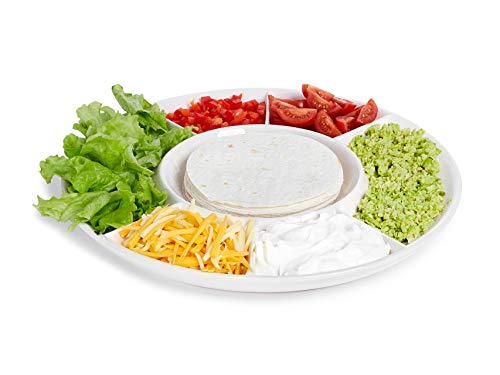 Taco Serving Plate - Divided Taco Condiment Platter Tray with Holder for Tortillas or Nachos - Large Ceramic Server Dish for Taco Bar ()