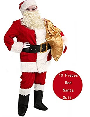 Obosoyo Men's Deluxe Santa Suit 10pc. Christmas Ultra Velvet Adult Santa Claus Costume