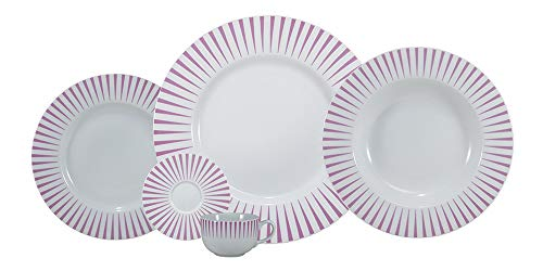 Serviço Jantar E Café 30 Peças Porcelana Schmidt Aba Larga. Decoração Sol Rosa Pacote De 030 No Voltagev