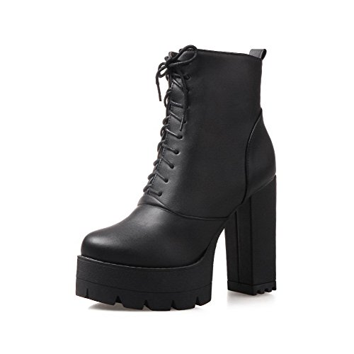 Soft Toe Boots Low Material High Women's top Round Heels Zipper AgooLar Closed Black qOBPIwvT