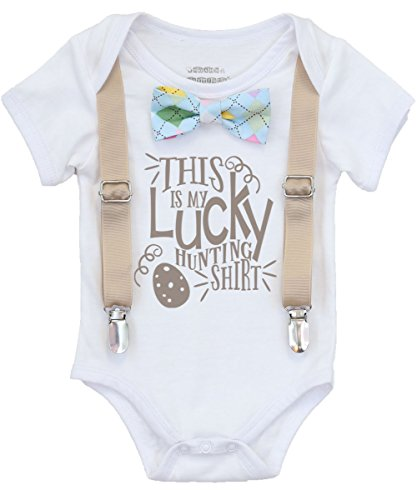 Noah's Boytique Baby Boy Easter Outfit Shirt With Pastel Argyle Bow Tan Khaki Suspenders Tie With Saying My Egg Hunting Shirt Cute First Easter Newborn 6-12 - Studio My 23