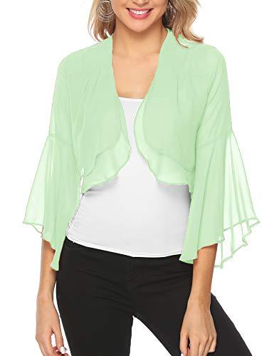 Aibrou Women Short Ruffle Sleeve Sheer Bolero Shrugs Chiffon Cardigans for Dresses Mint Green