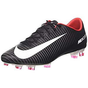 NIKE Men's Mercurial Veloce III FG Soccer Cleat Black/White/Dark Grey/University Red Size 11 M US