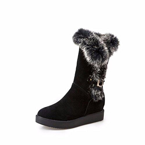 RFF-Womens Shoes Coton DHiver Chaussures Bottes Talons Hauts Tube Pente avec Martin Bottes Bottes,Black,39