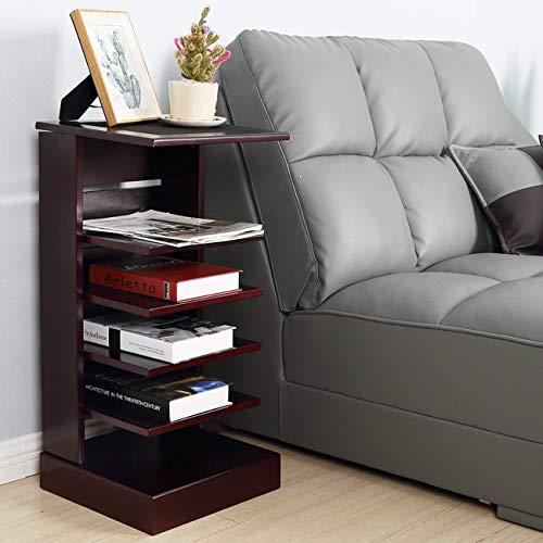 &WOOD LIFE Magazine Rack Floor Free-Standing Side Corner Table Book Storage with 5 Shelves Mahogany