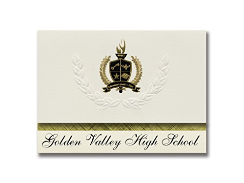 Signature Announcements Golden Valley High School (Merced, CA) Graduation Announcements, Presidential style, Basic package of 25 with Gold & Black Metallic Foil - Valley Mercedes