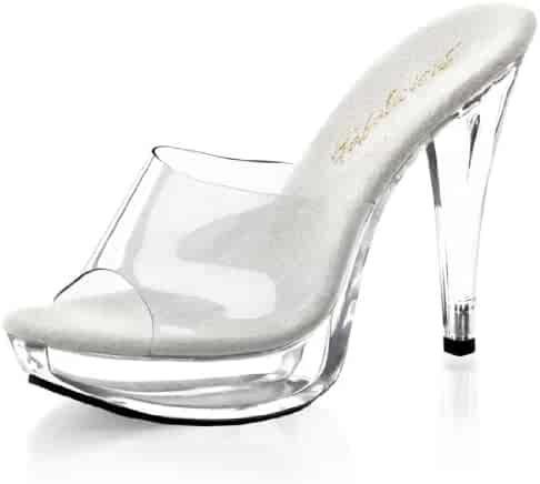 ba1ffb9f2fc Summitfashions Classy Clear Heel Shoes Women s Slide Sandals with 5 Inch  Heels