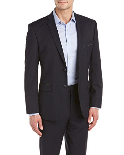 0fcfc0706614 V19.69 Italia By Versace 19.69 Men s Slim Fit Solid Navy Suit With Leather  Trim
