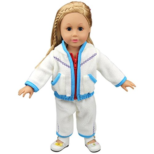 """Wenjuan Doll Clothes Thick White Fleece Hoodie Pants Outfits Jacket Suit for 18"""" Doll (Blue) (Fleece Princess Hoodie)"""