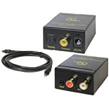 DB Tech Digital to Analog Audio Converter with Digital Optical Toslink and S/PDIF Coaxial Inputs and Analog RCA and AUX 3.5mm (Headphone) Outputs - 6 foot Heavy Duty Optical Toslink Cable with Gold Plated Connector Tips Included