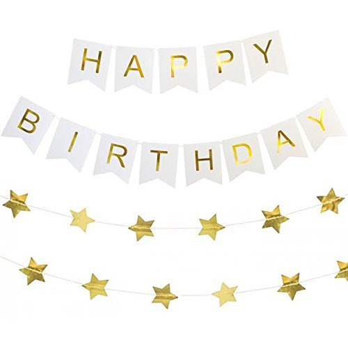 Birthday Banner Card (Derhom Happy Birthday Banner with Shimmering Gold Letters and Five-pointed Star Gold Foil Sheet for Birthday Party Decorations (White and Gold))
