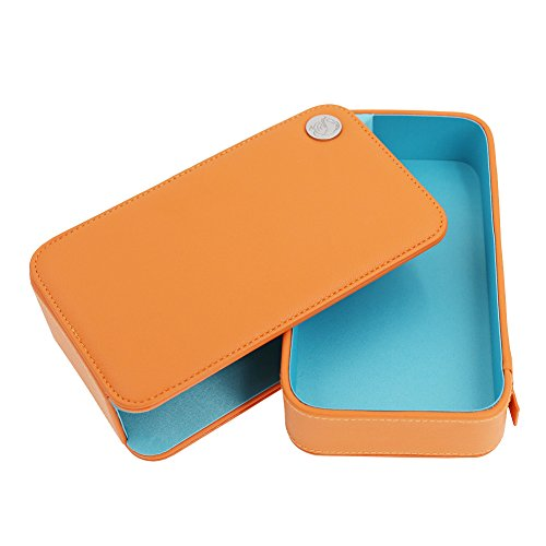 Makeup case Orange PU Leather Mini Drawer Makeup Train Case for Girl (Childrens Train Case)