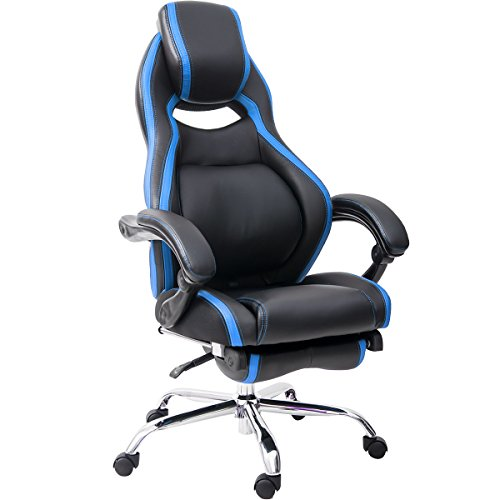 Merax PP010071CAA Racing Style Executive PU Leather Swivel Chair with with Footrest and Back Support Reclining, Blue