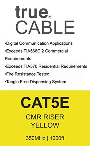 trueCABLE Cat5e Riser (CMR), 1000ft, Yellow, 24AWG 4 Pair Solid Bare Copper, 350MHz, ETL Listed, Unshielded Twisted Pair (UTP), Bulk Ethernet Cable