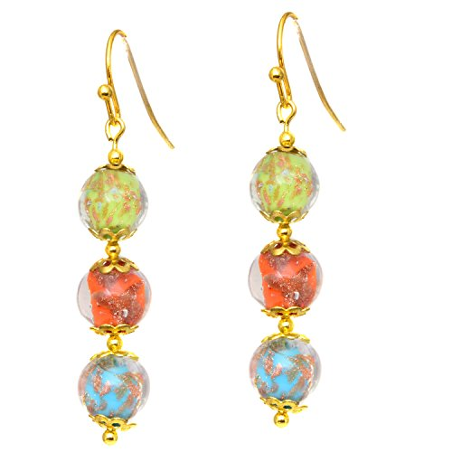 Just Give Me Jewels Genuine Venice Murano Sommerso Aventurina Glass Bead Dangle Three Bead Earrings-Multi Color