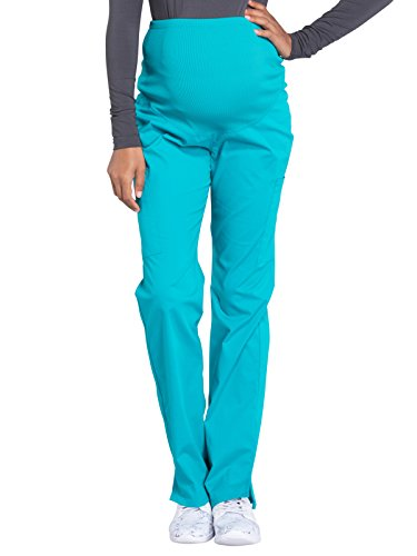 Cherokee Workwear Professionals by Women's Maternity Soft Knit Waistband Scrub Pant Small Tall Teal Blue