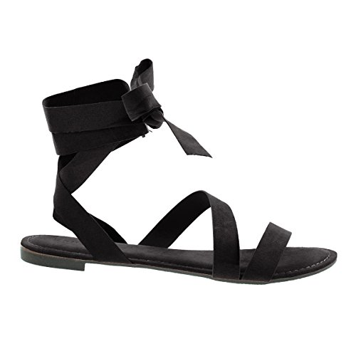 Womens Open Toe Leg Wrap Lace Up Flat Sandal Black F-suede ipHKWKcsih