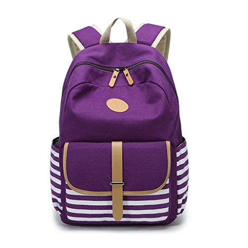Women Rucksack Girls Jagenie Travel Canvas Striped Backpack Black Purple Students SpqCqw6x