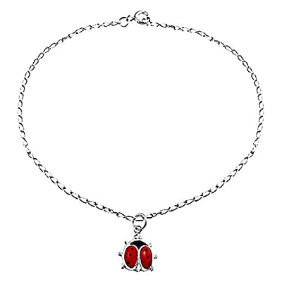 new Bling Jewelry Enamel Red Ladybug Charm Anklet 925 Silver Ankle Bracelet