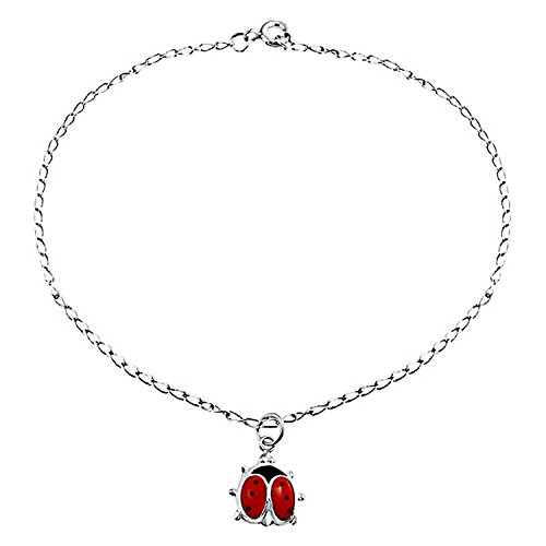 Red Ladybug Garden Dangle Charm Anklet Link Ankle Bracelet For Women 925 Sterling Silver 9 To 10 Inch Extender