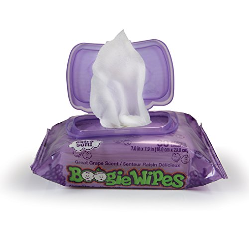Boogie Wipes Soft Natural Saline Wet Tissues for Baby and Kids Sensitive Nose, Hand, and Face with Moisturizing Aloe, Chamomile, and Vitamin E, Grape Scent, 30 Count (Pack of 12)