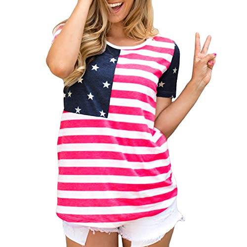 (Independence Day T Shirts for Women,BOLUBILUY American Flag Printed Tops Stripes and Stars 4th of July Patriotic Shirts Red)