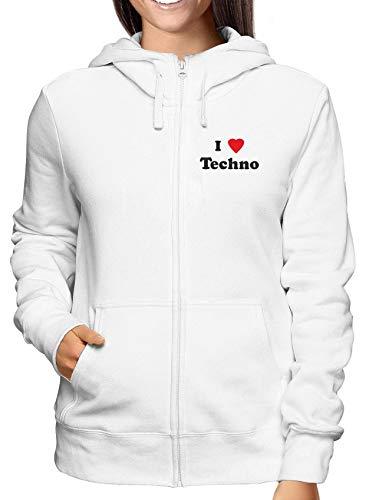 T Felpa Techno Donna shirtshock Wtc0912 Love Bianca I Zip ggwAq5r