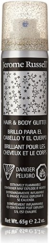 Jerome Russell Hair and Body Glitter Spray, Silver, 2.2 Fluid -