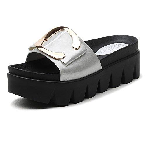 Verano Sandalias Muffins de fondo grueso fuera de la ropa de verano al aire libre Sandalias de zapatillas de moda coreana Mujer Color / tamaño opcional ( Color : La Plata , Tamaño : EU38/UK5.5/CN38 ) La Plata