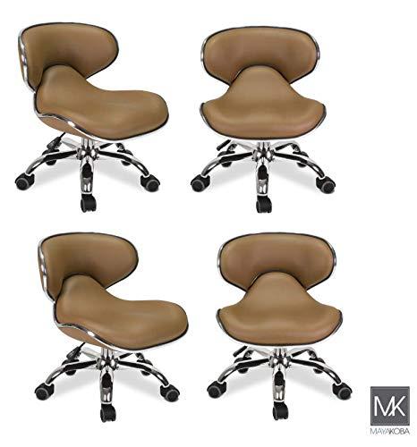 MAYAKOBA SET OF 4 Nail Salon Pedicure Stool UMI CAPPUCCINO Pedicure Chair Short Adjustable Comfort Pneumatic Pump Salon Furniture & Equipment