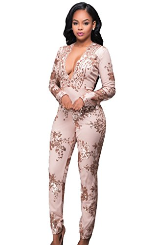 Women's Sexy Long Sleeve Sequins Cocktail Jumpsuit Romper Champagne XL