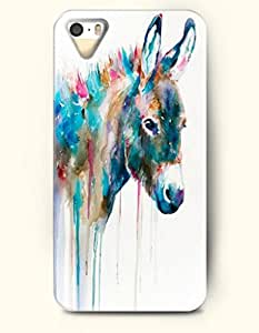 iPhone 5 5S Hard Case (iPhone 5C Excluded) **NEW** Case with Design Blue Donkey- ECO-Friendly Packaging - Oil Painting Series (2014) Verizon, AT&T Sprint, T-mobile