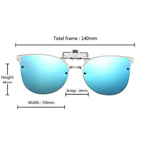 Flip Up de Bleu vue Yefree Cat Clip on Polarized Eye Lunettes soleil en Lunettes métal de wtwBF7IqP