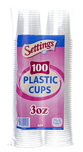 Settings 3 oz Clear Disposable Drinking, Bathroom, Party, Rinsing, Plastic Cups 1 Pack (100 Cups)