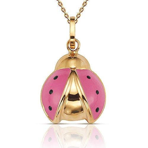Jewel Connection Beautiful 14K Yellow Gold Open Wing Flying Enamel Ladybug Pendant Necklace with 18