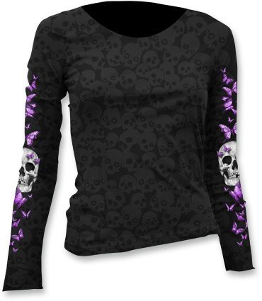Lethal Threat Women's Long Sleeve Shirt (Butterfly Skull Burnout Ls)(Black, Medium), 1 Pack by Lethal Threat Designs