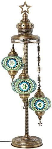 19 Colors – 3 Big Globes Turkish Moroccan Mosaic Tiffany Floor Table Lamp for North American Use, 37 Teal