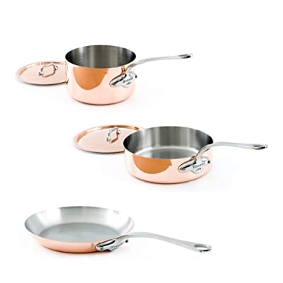 Mauviel M'Heritage Copper M150S 6100.01 5-Piece Cookware Set, Cast Stainless Steel Handles.