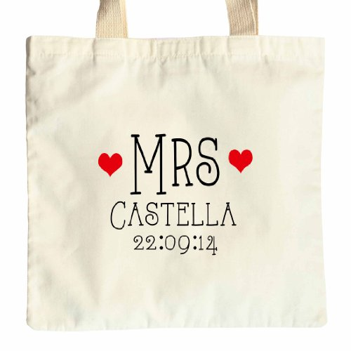 Personalizzato New Mrs Bride to Be Little Hearts design cotone Tote wedding day Thank You Gift bag