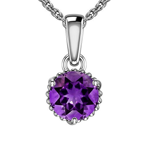 (Belinda Jewelz Womens 925 Sterling Silver Sparkling Round 7mm Color Gemstone Solitaire Prong Birthstone Modern Elegant Chain Hanging Fine Pendant Necklace, 0.9 Carat Amethyst Purple, 18 Inch)