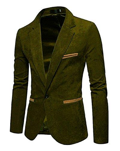 Men's Long Sleeve Regular Fit Corduroy Lapel Casual Blazer Jacket One Button Coat Green XX-Large ()
